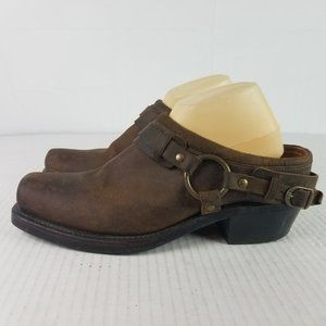 Frye Sz 11 Brown Belted Harness Mules Leather Boot
